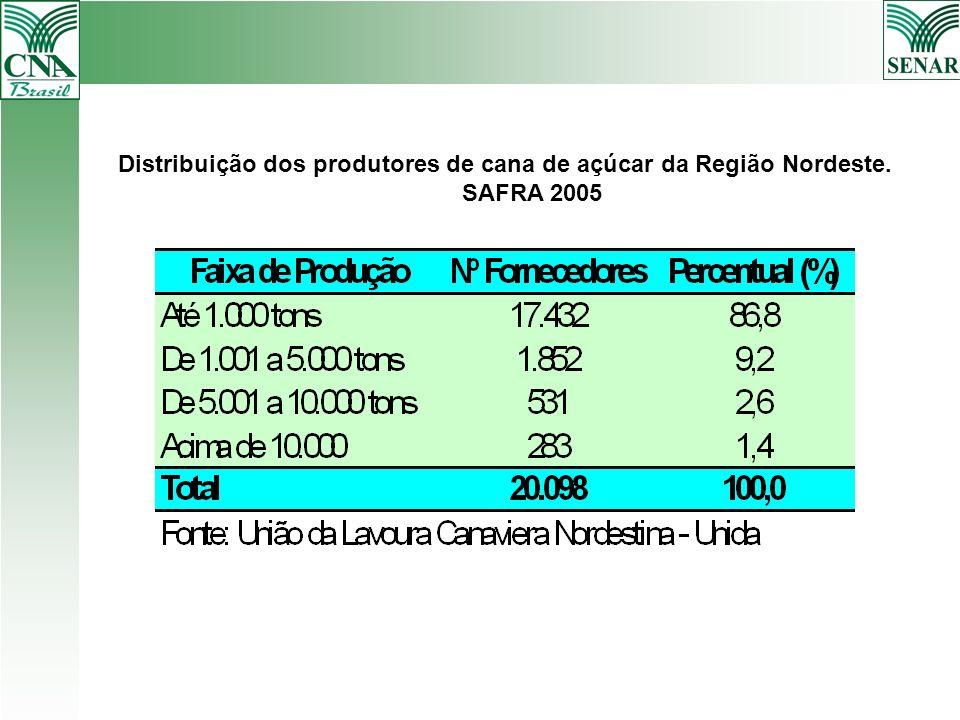 Distribuição dos produtores de cana de açúcar da Região Nordeste.