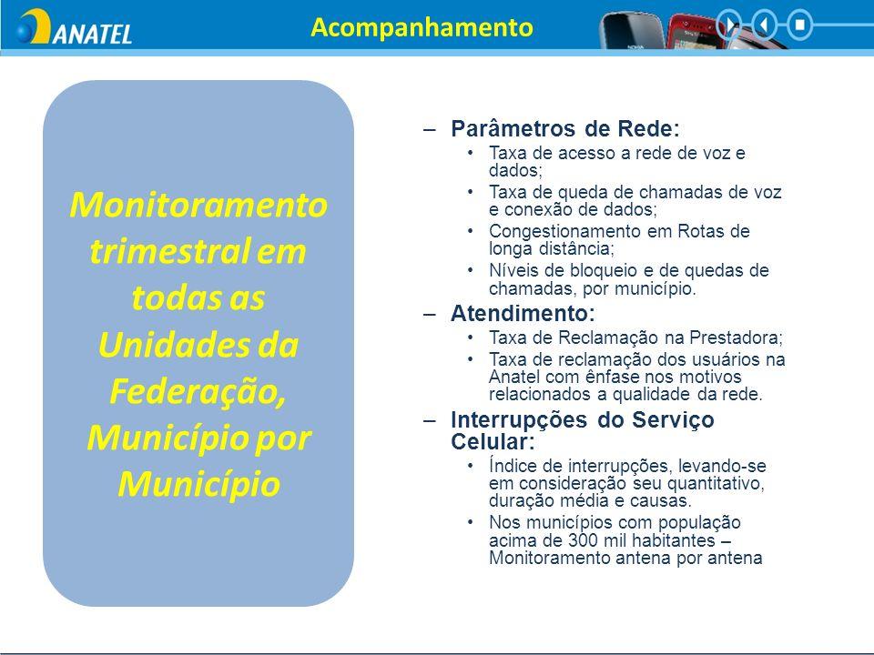 Acompanhamento Monitoramento trimestral em todas as Unidades da Federação, Município por Município.