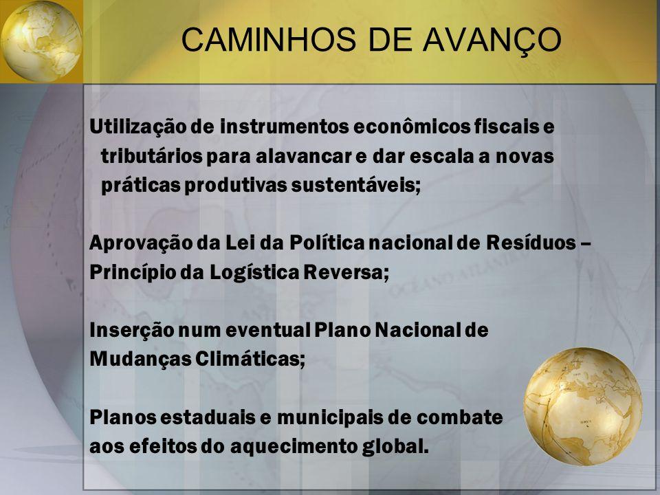 CAMINHOS DE AVANÇO Utilização de instrumentos econômicos fiscais e