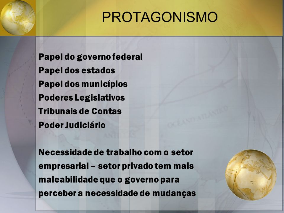 PROTAGONISMO Papel do governo federal Papel dos estados