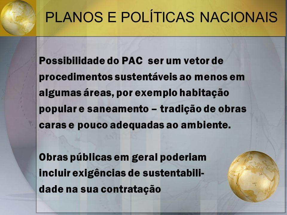 PLANOS E POLÍTICAS NACIONAIS