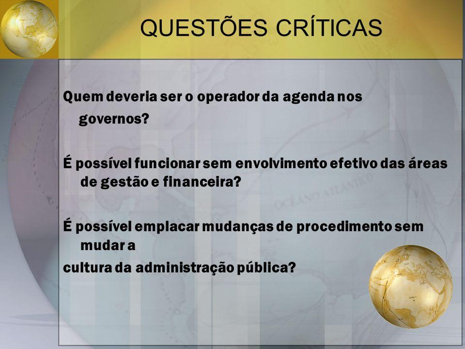 QUESTÕES CRÍTICAS Quem deveria ser o operador da agenda nos governos