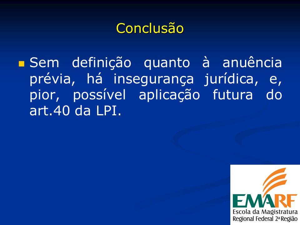 Conclusão Sem definição quanto à anuência prévia, há insegurança jurídica, e, pior, possível aplicação futura do art.40 da LPI.