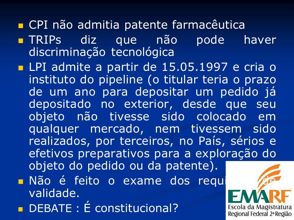 CPI não admitia patente farmacêutica