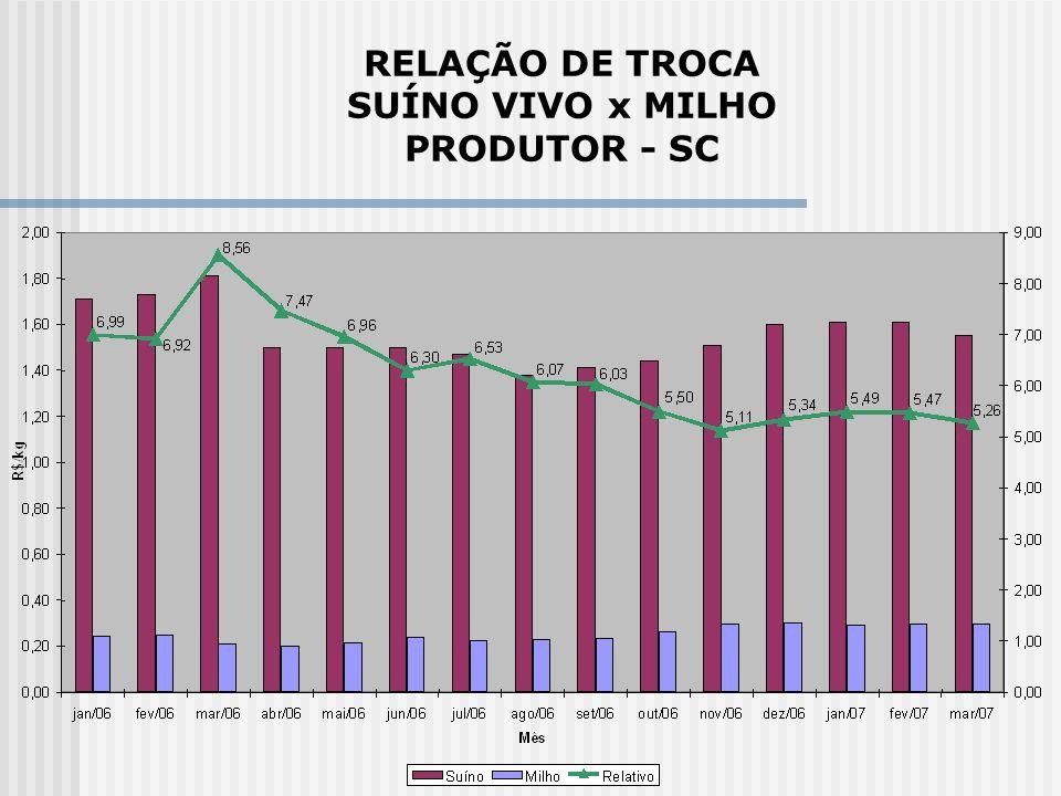 RELAÇÃO DE TROCA SUÍNO VIVO x MILHO PRODUTOR - SC