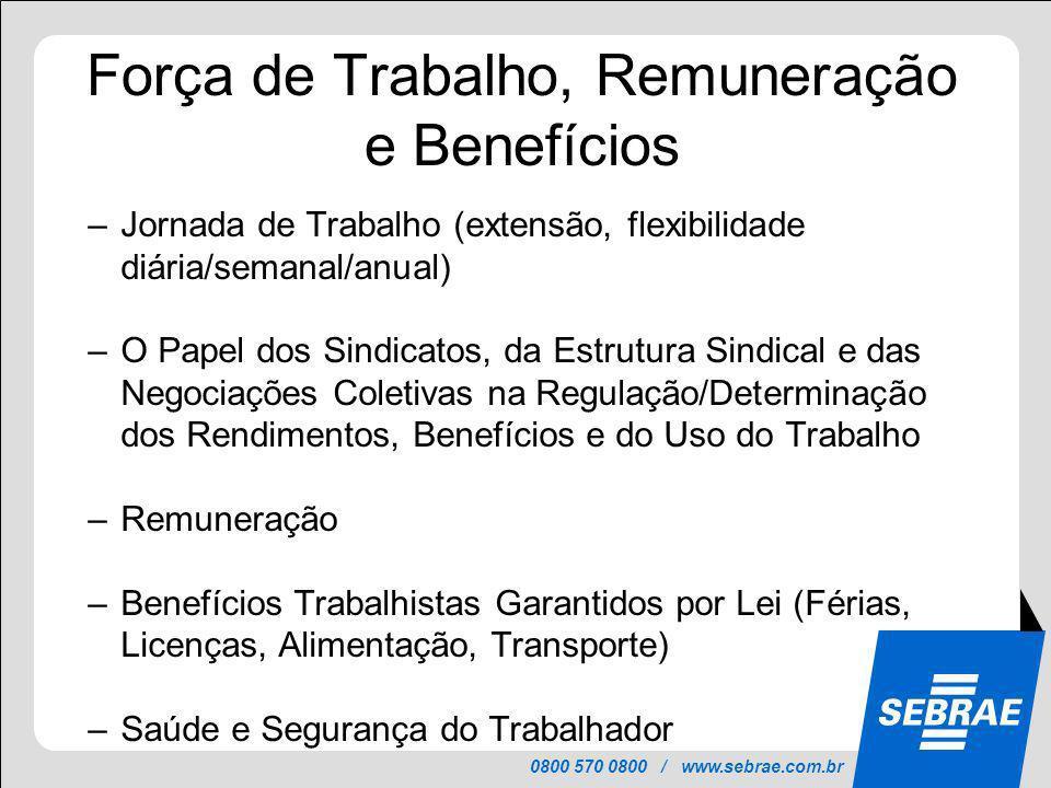 Força de Trabalho, Remuneração e Benefícios