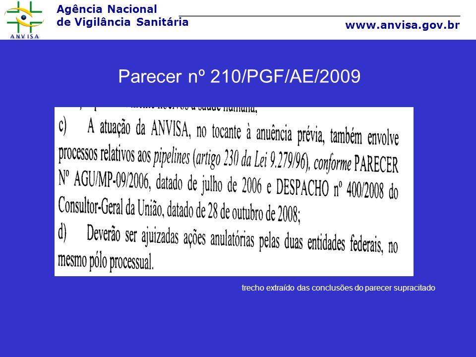 Parecer nº 210/PGF/AE/2009 trecho extraído das conclusões do parecer supracitado