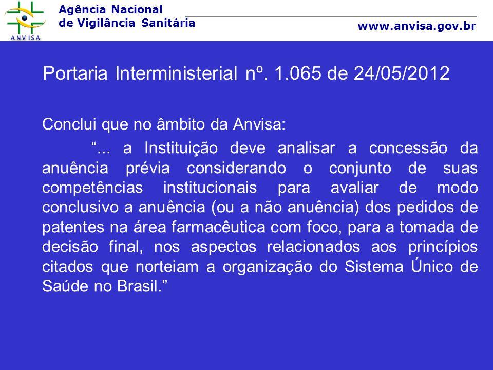 Portaria Interministerial nº. 1.065 de 24/05/2012