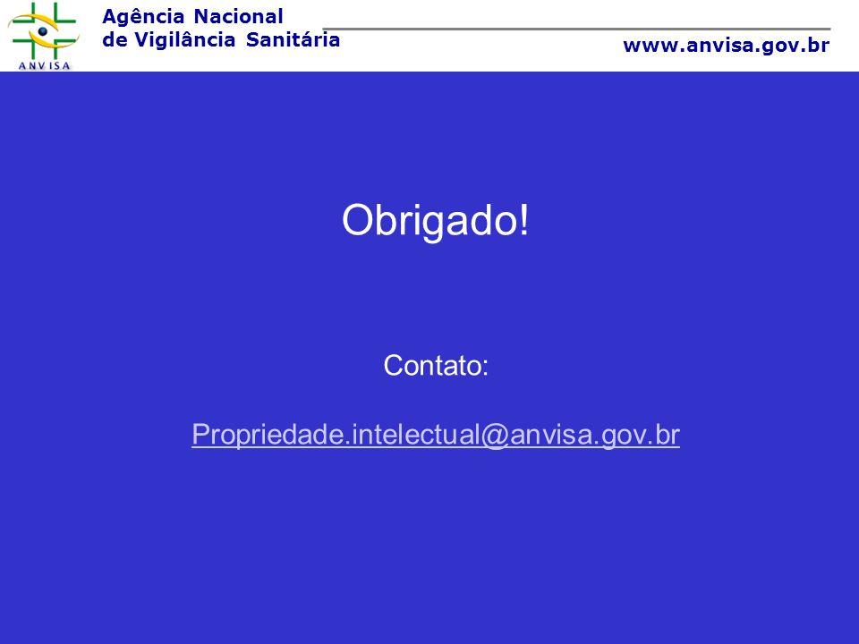Obrigado! Contato: Propriedade.intelectual@anvisa.gov.br