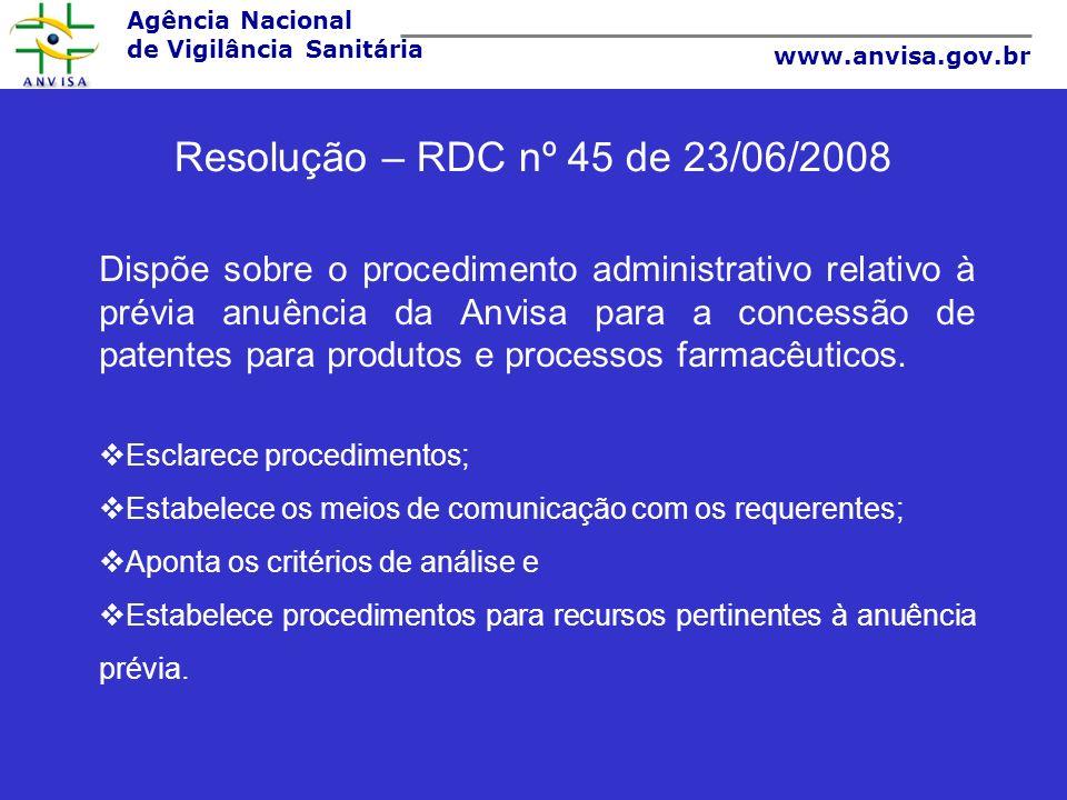 Resolução – RDC nº 45 de 23/06/2008