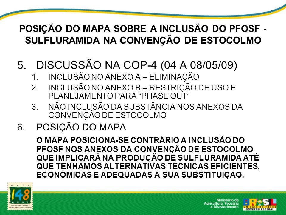 DISCUSSÃO NA COP-4 (04 A 08/05/09)