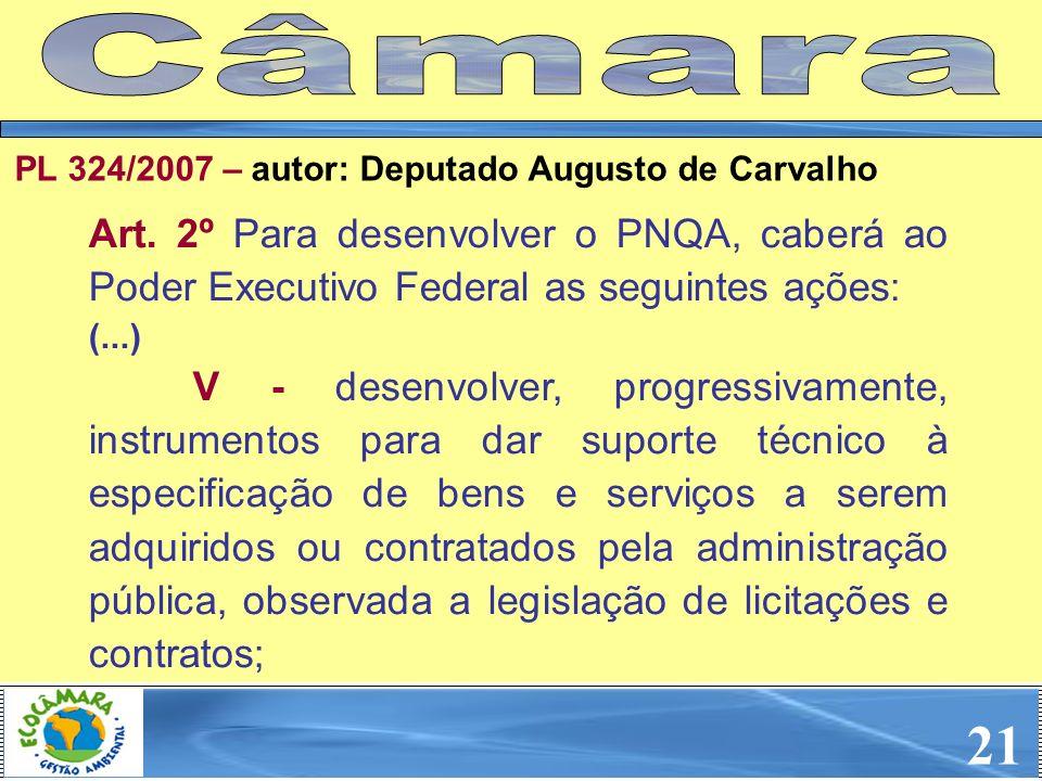CâmaraPL 324/2007 – autor: Deputado Augusto de Carvalho. Art. 2º Para desenvolver o PNQA, caberá ao Poder Executivo Federal as seguintes ações: