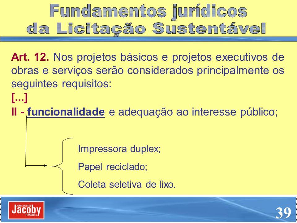 39 Fundamentos jurídicos da Licitação Sustentável