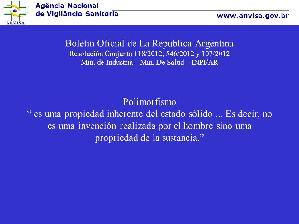 Boletin Oficial de La Republica Argentina Resolución Conjunta 118/2012, 546/2012 y 107/2012 Min. de Industria – Min. De Salud – INPI/AR