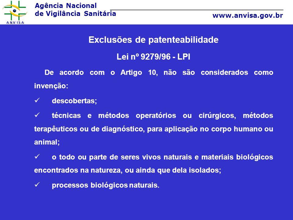 Exclusões de patenteabilidade