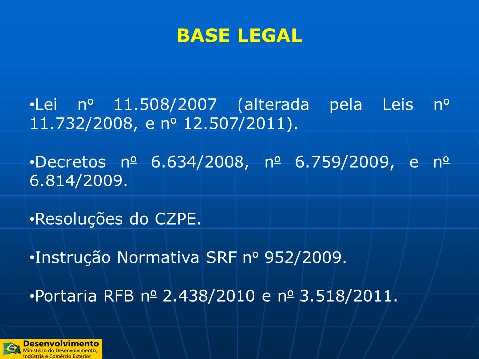 BASE LEGALLei no 11.508/2007 (alterada pela Leis no 11.732/2008, e no 12.507/2011). Decretos no 6.634/2008, no 6.759/2009, e no 6.814/2009.