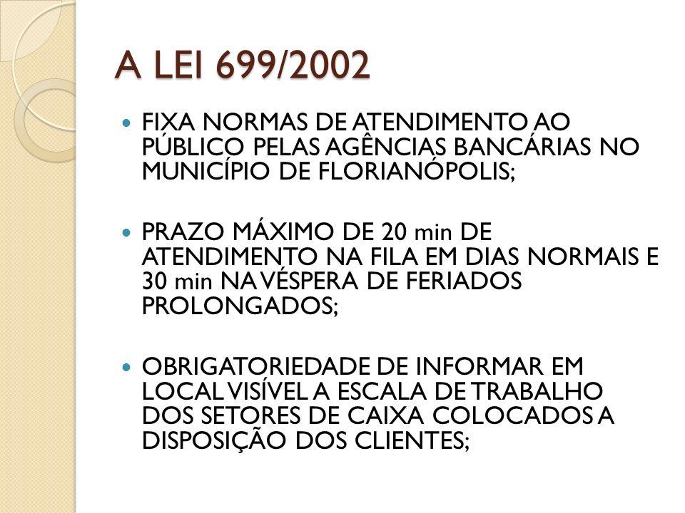 A LEI 699/2002 FIXA NORMAS DE ATENDIMENTO AO PÚBLICO PELAS AGÊNCIAS BANCÁRIAS NO MUNICÍPIO DE FLORIANÓPOLIS;