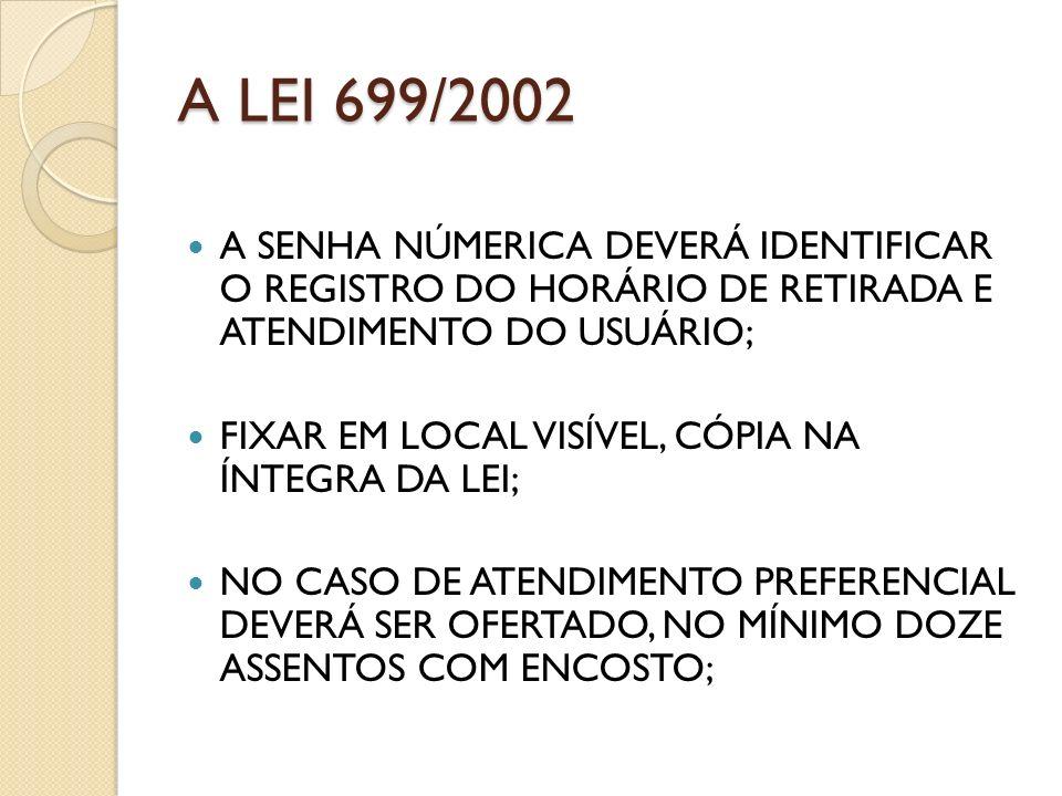 A LEI 699/2002 A SENHA NÚMERICA DEVERÁ IDENTIFICAR O REGISTRO DO HORÁRIO DE RETIRADA E ATENDIMENTO DO USUÁRIO;