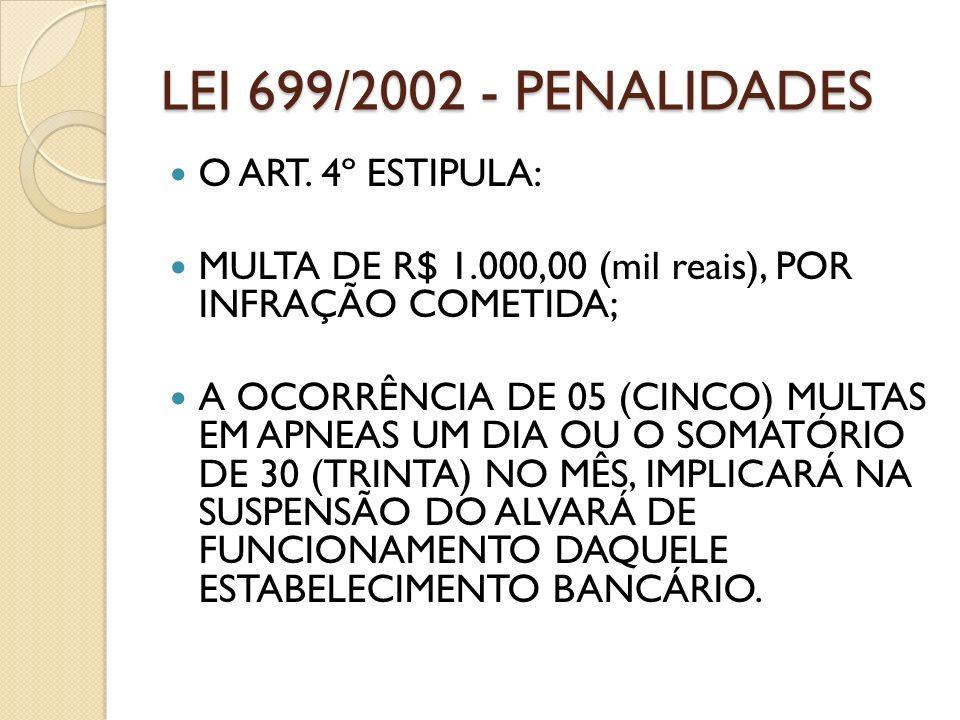LEI 699/2002 - PENALIDADES O ART. 4º ESTIPULA: