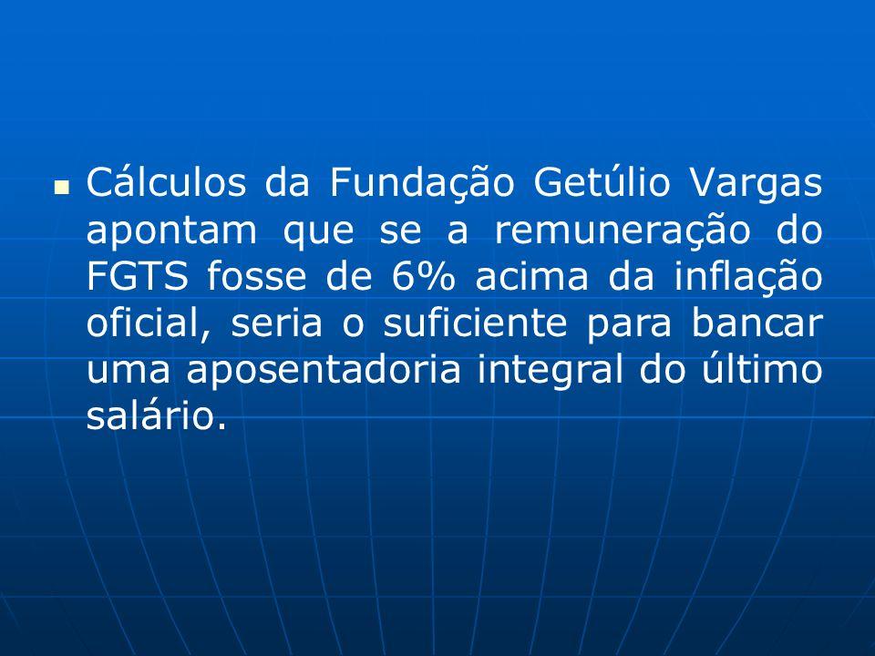 Cálculos da Fundação Getúlio Vargas apontam que se a remuneração do FGTS fosse de 6% acima da inflação oficial, seria o suficiente para bancar uma aposentadoria integral do último salário.