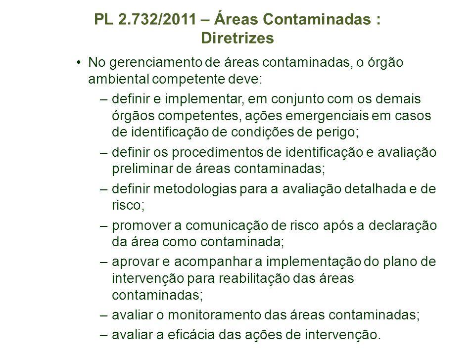 PL 2.732/2011 – Áreas Contaminadas : Diretrizes