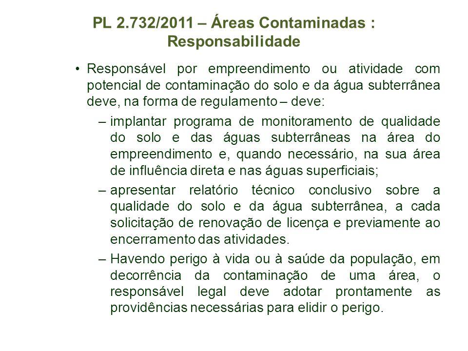 PL 2.732/2011 – Áreas Contaminadas : Responsabilidade