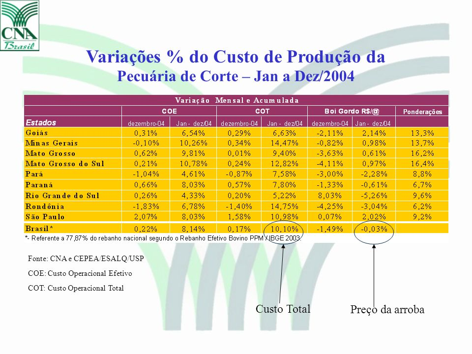Variações % do Custo de Produção da Pecuária de Corte – Jan a Dez/2004