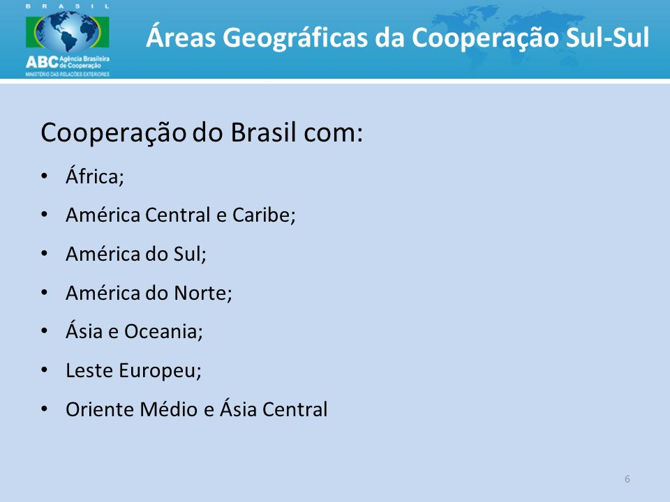 Áreas Geográficas da Cooperação Sul-Sul