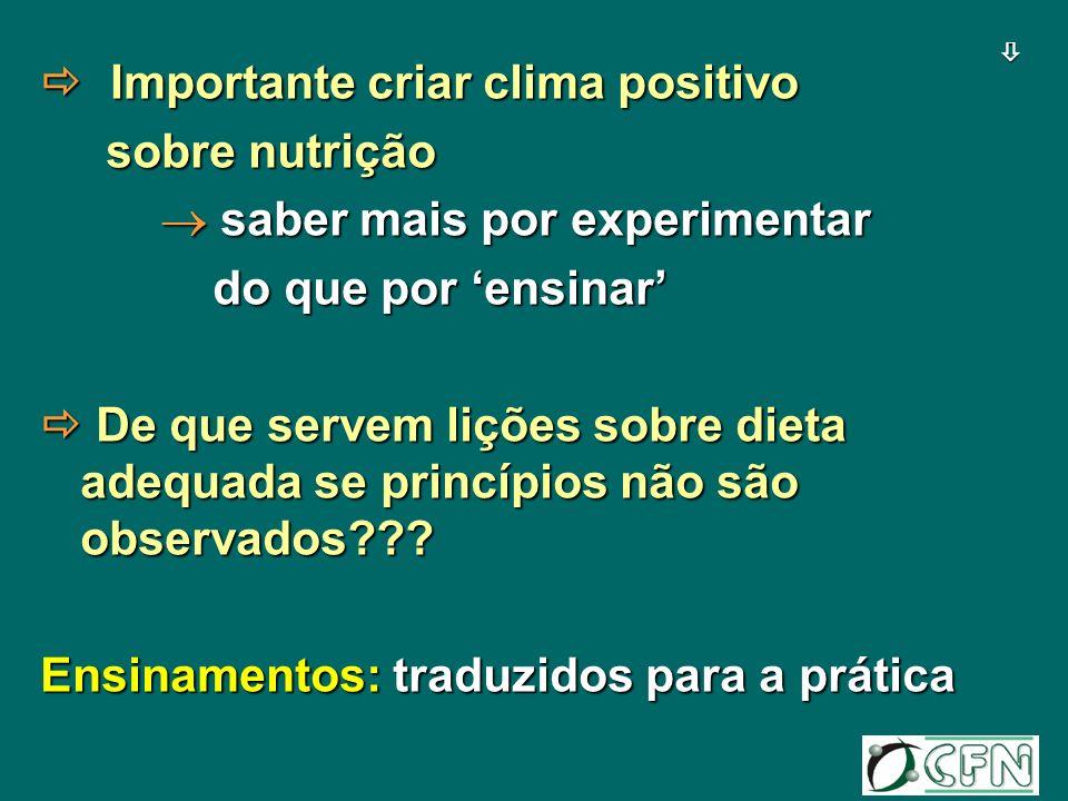  Importante criar clima positivo sobre nutrição