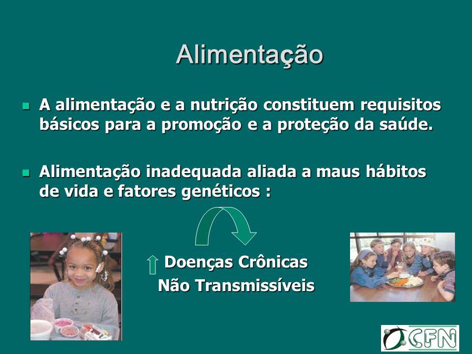 Alimentação A alimentação e a nutrição constituem requisitos básicos para a promoção e a proteção da saúde.