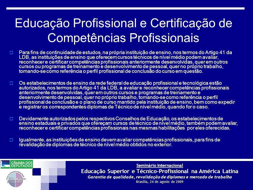 Educação Profissional e Certificação de Competências Profissionais