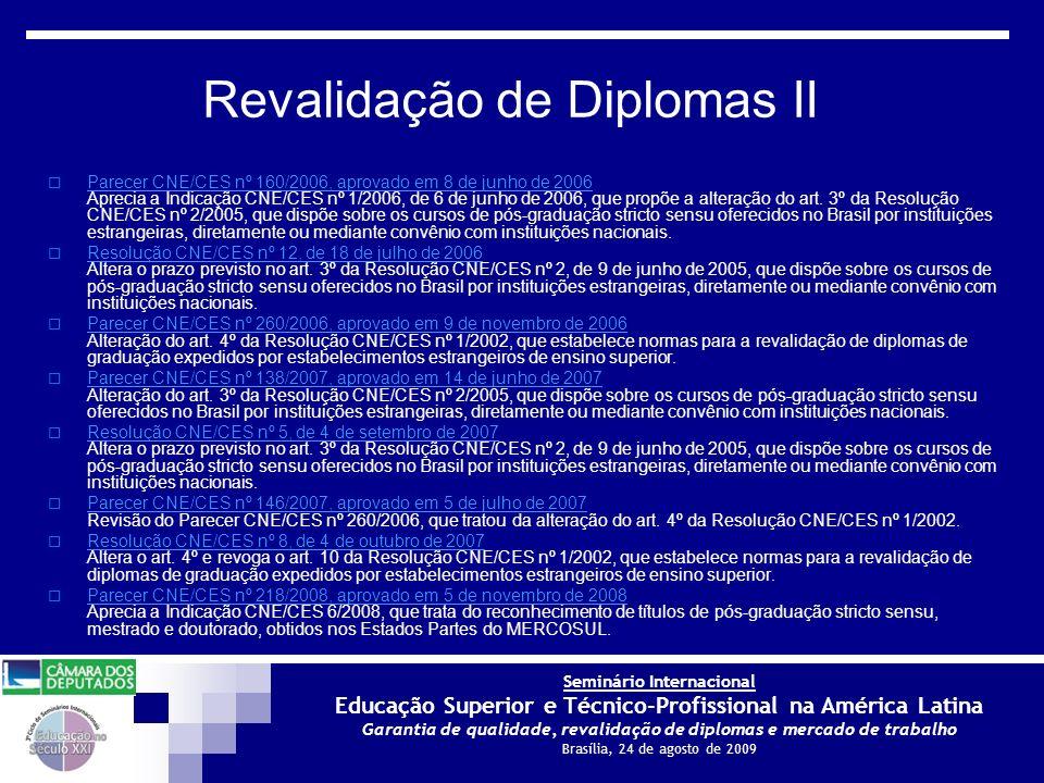 Revalidação de Diplomas II