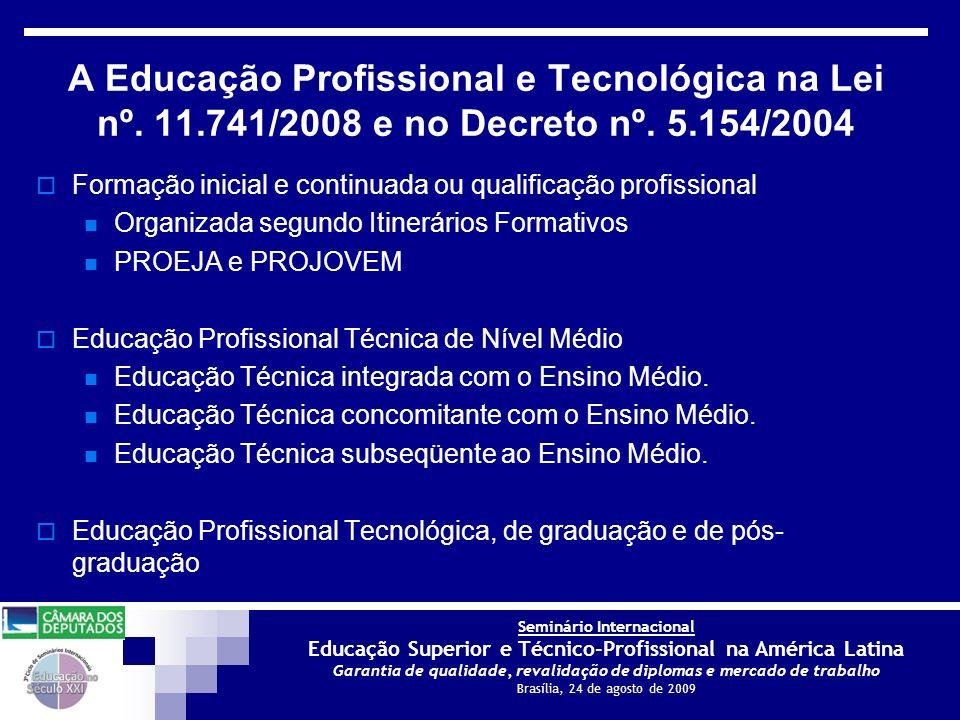 A Educação Profissional e Tecnológica na Lei nº. 11