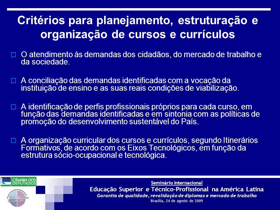 Critérios para planejamento, estruturação e organização de cursos e currículos