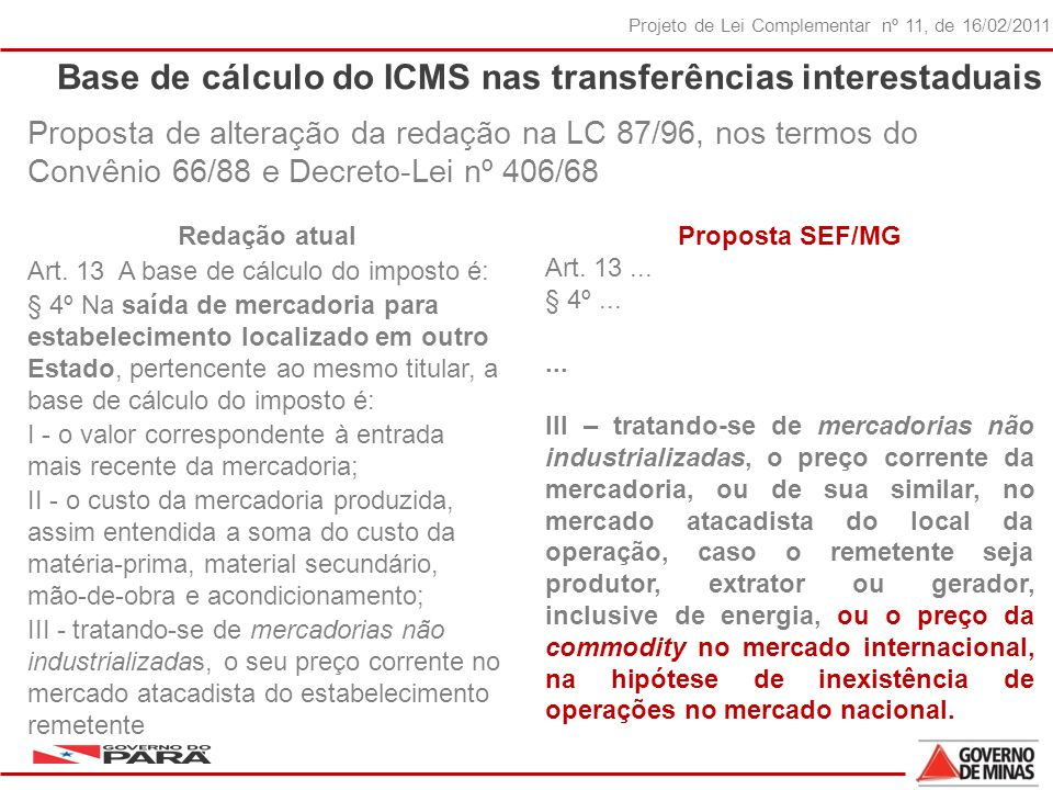 Base de cálculo do ICMS nas transferências interestaduais