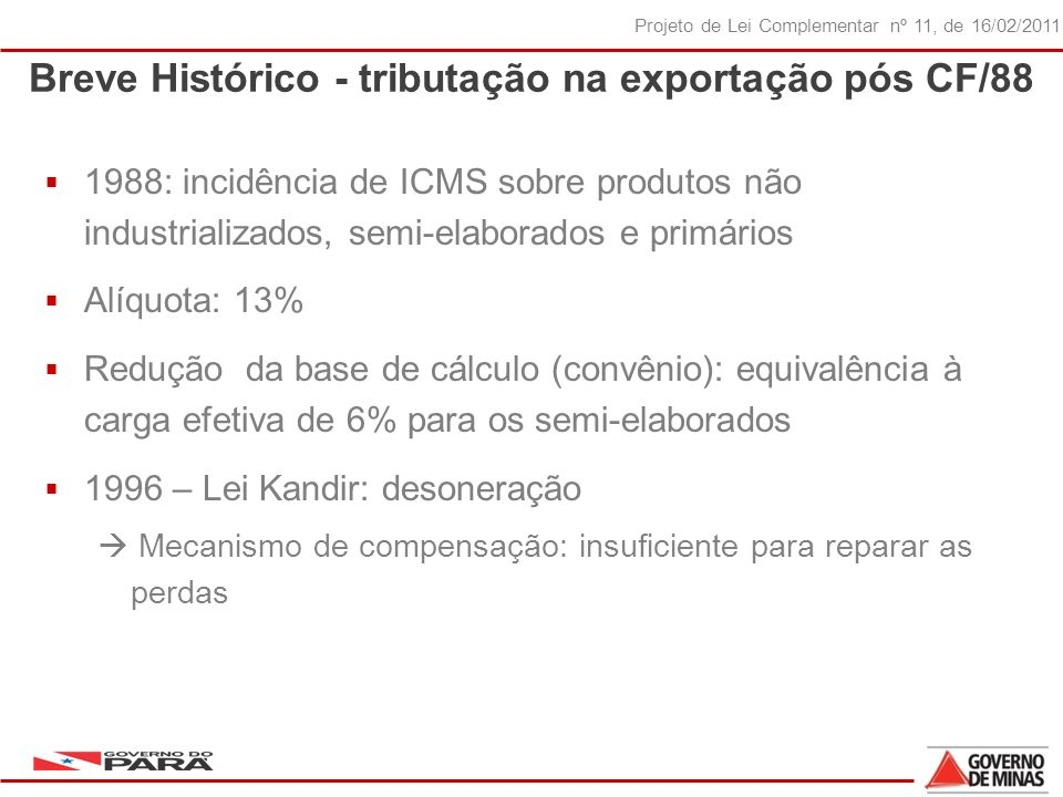Breve Histórico - tributação na exportação pós CF/88