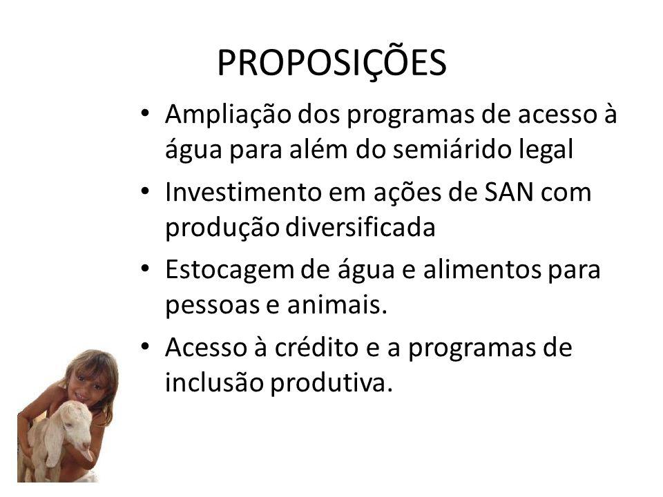 PROPOSIÇÕES Ampliação dos programas de acesso à água para além do semiárido legal. Investimento em ações de SAN com produção diversificada.