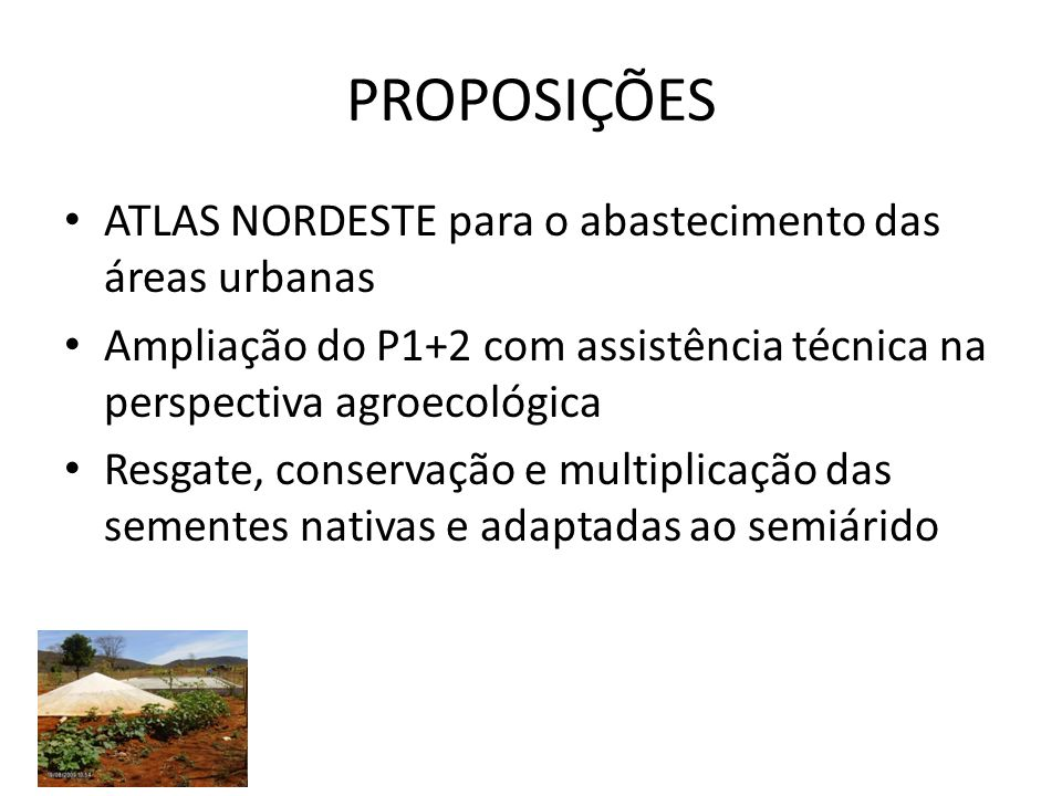 PROPOSIÇÕES ATLAS NORDESTE para o abastecimento das áreas urbanas