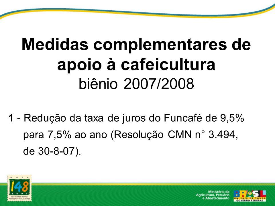 Medidas complementares de apoio à cafeicultura biênio 2007/2008