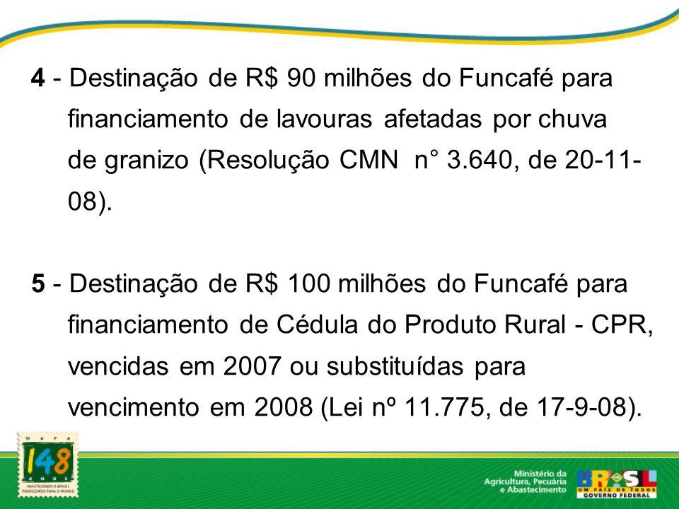 4 - Destinação de R$ 90 milhões do Funcafé para