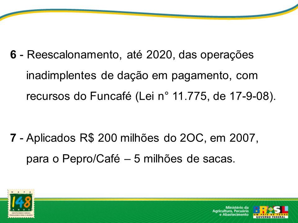 6 - Reescalonamento, até 2020, das operações