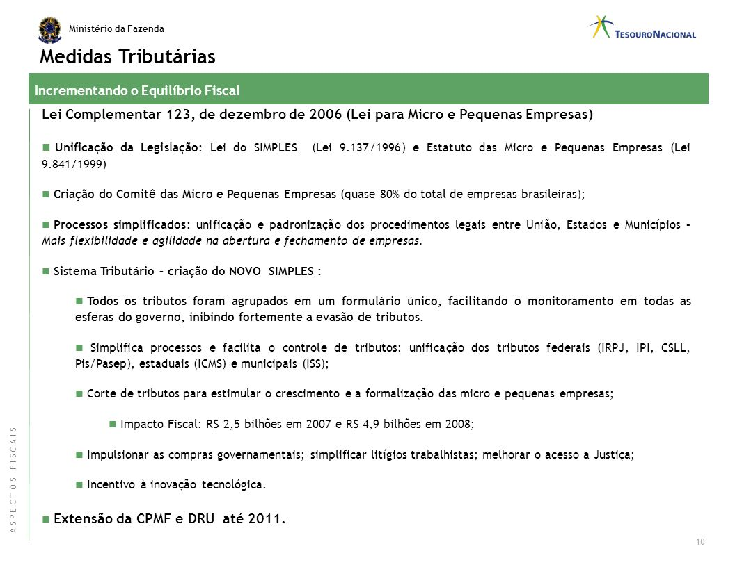 Medidas Tributárias Incrementando o Equilíbrio Fiscal. Lei Complementar 123, de dezembro de 2006 (Lei para Micro e Pequenas Empresas)