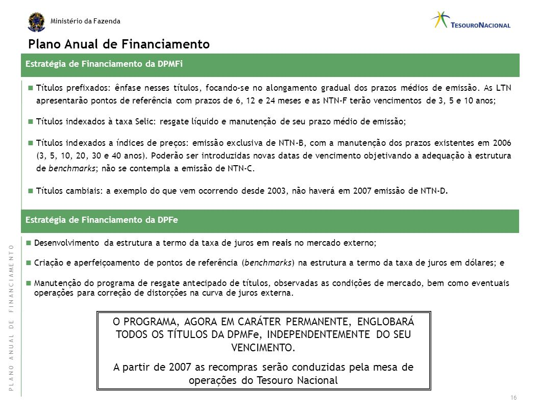 Plano Anual de Financiamento