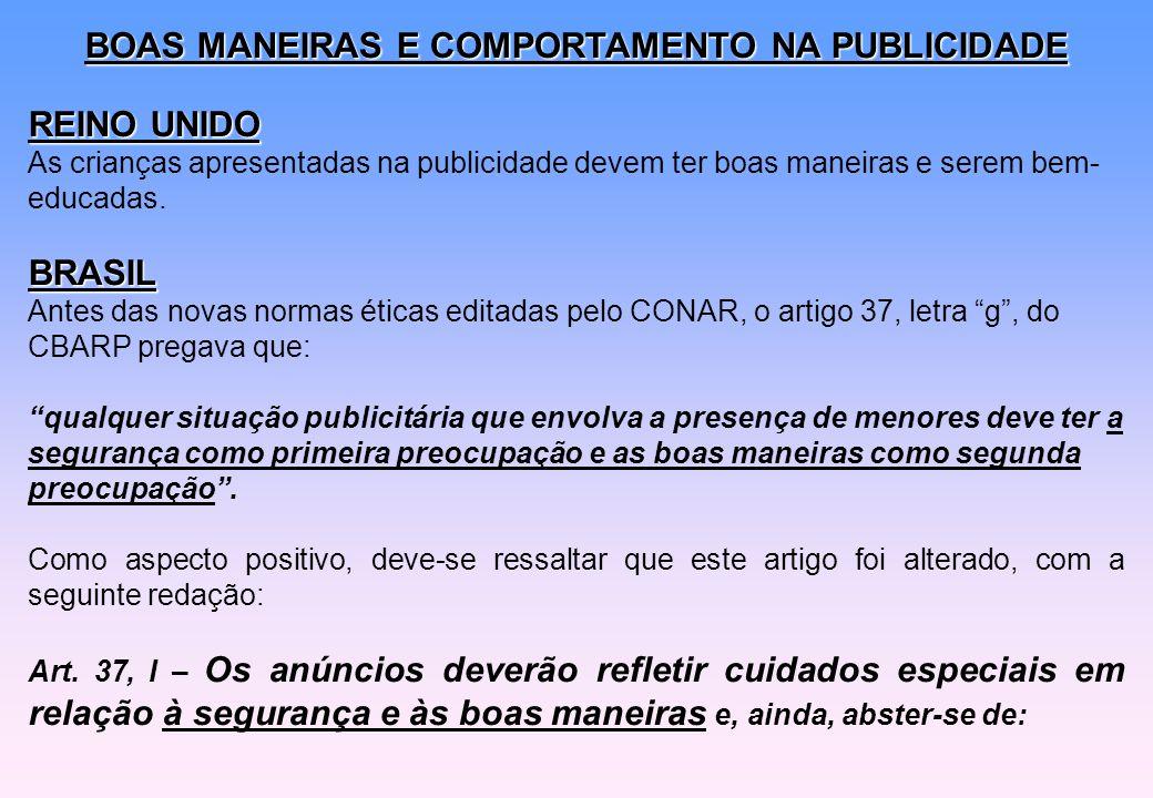 BOAS MANEIRAS E COMPORTAMENTO NA PUBLICIDADE