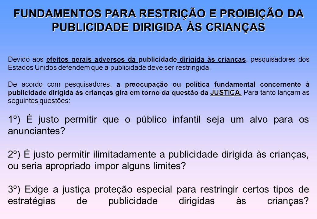 FUNDAMENTOS PARA RESTRIÇÃO E PROIBIÇÃO DA PUBLICIDADE DIRIGIDA ÀS CRIANÇAS