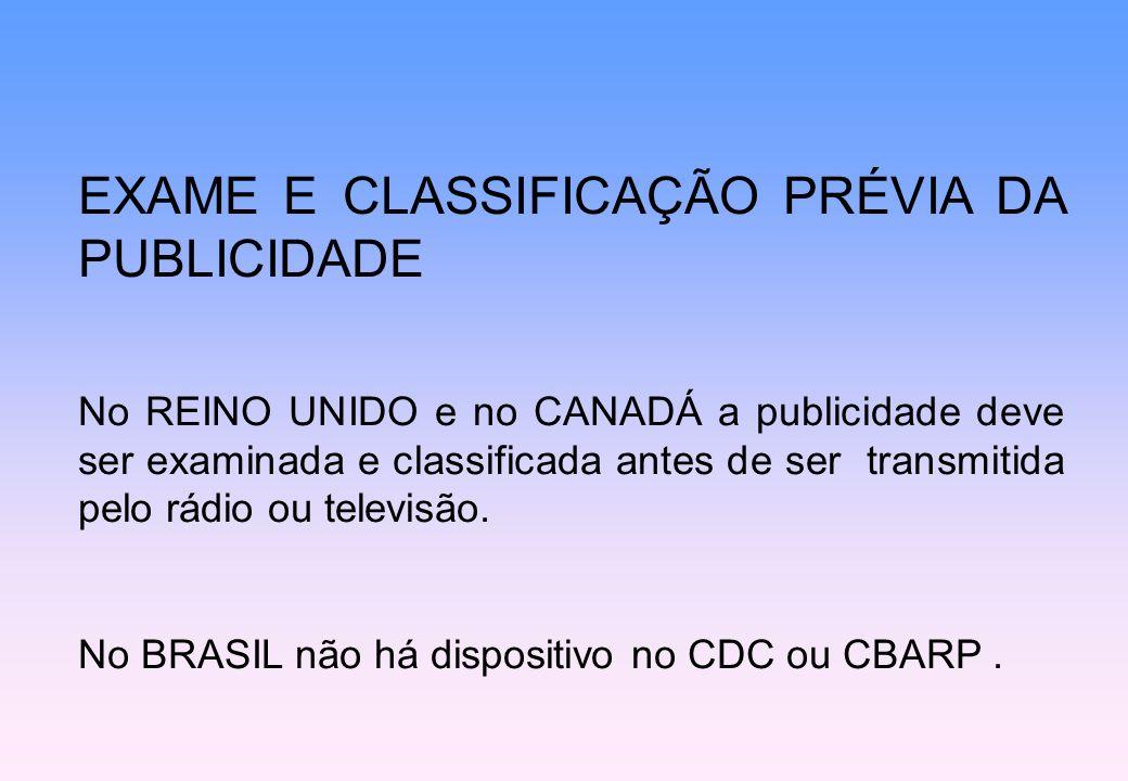 EXAME E CLASSIFICAÇÃO PRÉVIA DA PUBLICIDADE