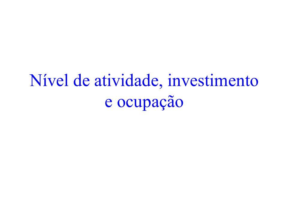 Nível de atividade, investimento e ocupação