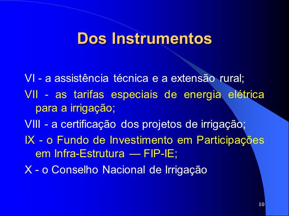 Dos Instrumentos VI - a assistência técnica e a extensão rural;