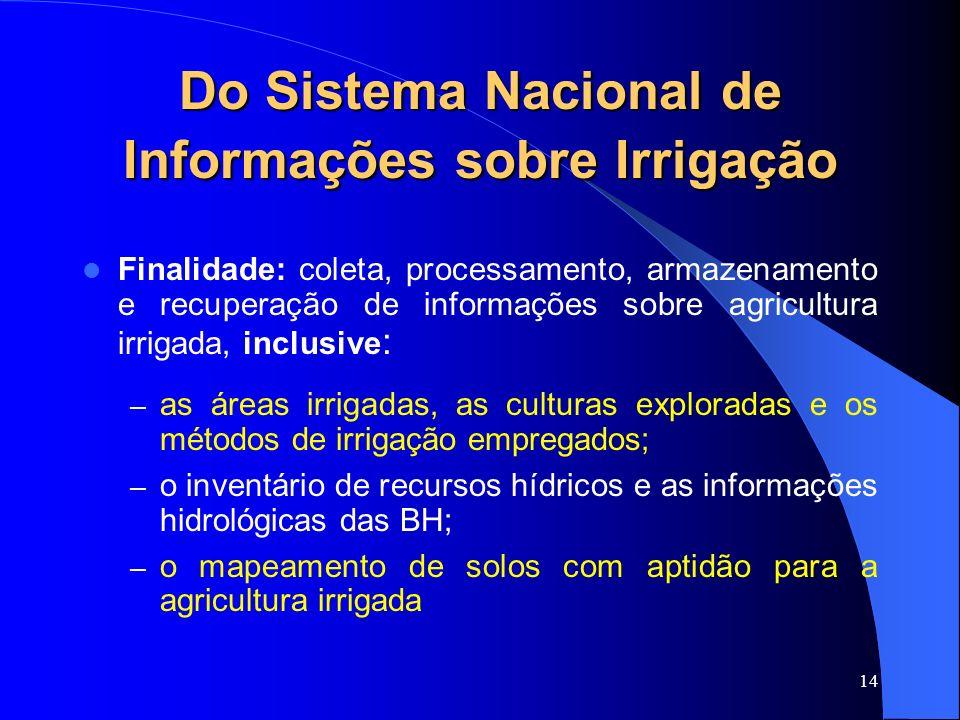 Do Sistema Nacional de Informações sobre Irrigação