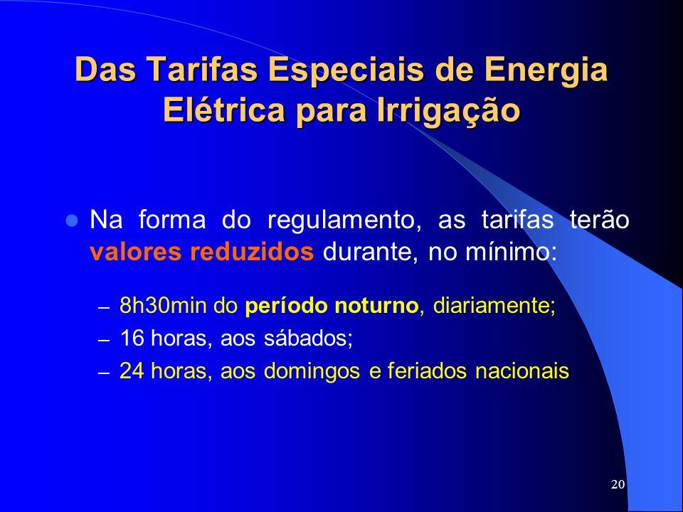 Das Tarifas Especiais de Energia Elétrica para Irrigação